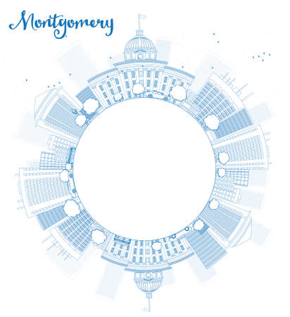 house outline: Outline Montgomery Skyline with Blue Building and copy space. Alabama. Vector Illustration Illustration