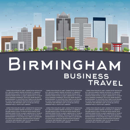 birmingham: Birmingham (Alabama) Skyline with Grey Buildings, Blue Sky and copy space. Business travel concept. Vector Illustration
