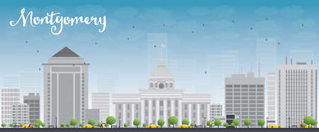 montgomery: Montgomery Skyline with Grey Building and Blue Sky. Alabama. Vector Illustration Illustration