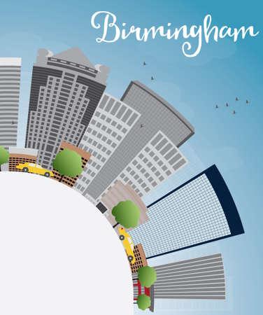 birmingham: Birmingham (Alabama) Skyline with Grey Buildings, Blue Sky and copy space. Vector Illustration
