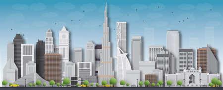 dubai: Dubai 3d City skyline detailed silhouette with shadow from buildings. Vector illustration.
