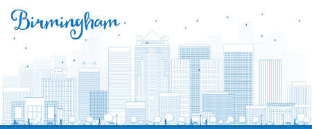 birmingham: Outline Birmingham (Alabama) Skyline with Blue Buildings. Vector Illustration