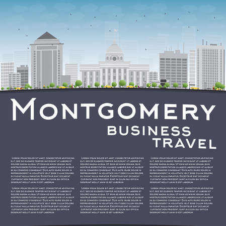 montgomery: Montgomery Skyline with Grey Building, Blue Sky and copy space. Alabama. Vector Illustration Illustration