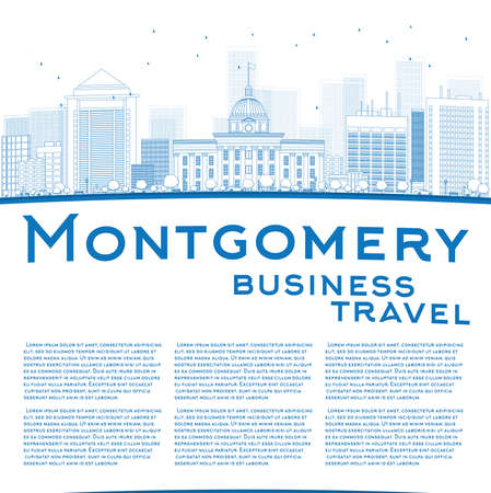 montgomery: Outline Montgomery Skyline with Blue Buildings and copy space. Alabama. Vector Illustration