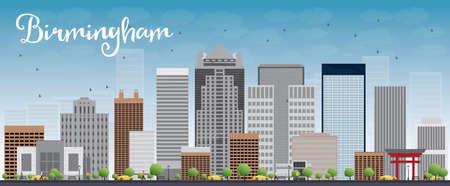 birmingham: Birmingham (Alabama) Skyline with Grey Buildings and Blue Sky. Vector Illustration