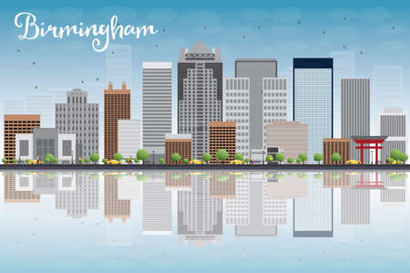 city panorama: Birmingham (Alabama) Skyline with Grey Buildings, Blue Sky and reflection. Vector Illustration