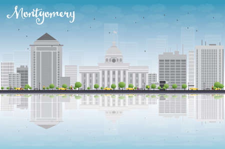 montgomery: Montgomery Skyline with Grey Building, Blue Sky and reflections. Alabama. Vector Illustration Illustration
