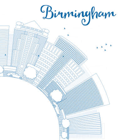 birmingham: Outline Birmingham (Alabama) Skyline with Blue Buildings and copy space. Vector Illustration