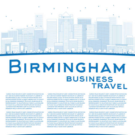 birmingham: Outline Birmingham (Alabama) Skyline with Blue Buildings and copy space. Business travel concept. Vector Illustration