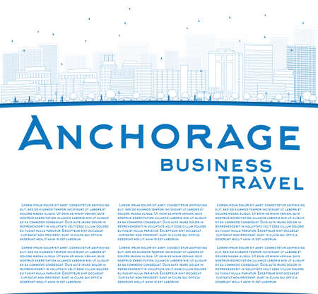 anchorage: Outline Anchorage (Alaska) Skyline with Blue Buildings and copy space. Business travel concept. Vector Illustration Illustration