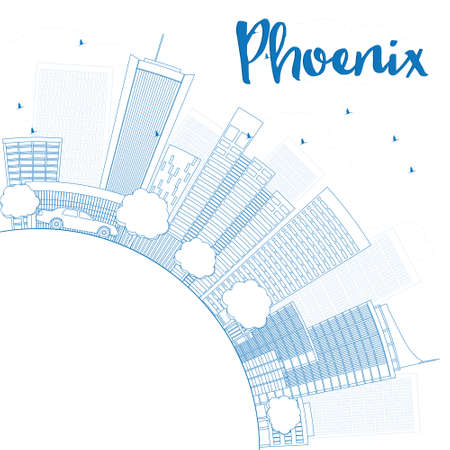 phoenix: Outline Phoenix Skyline with Blue Buildings and copy space. Vector Illustration