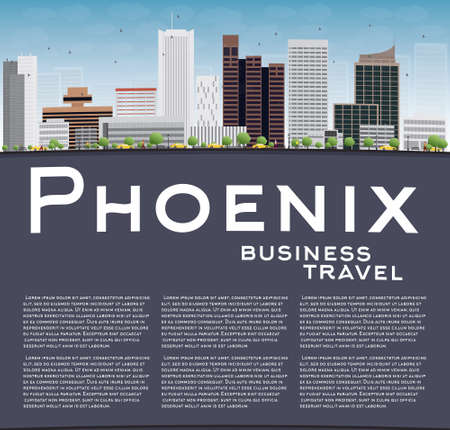 ave fenix: Phoenix Skyline con edificios grises, azul cielo y espacio de la copia. Concepto de viaje de negocios. Ilustraci�n vectorial