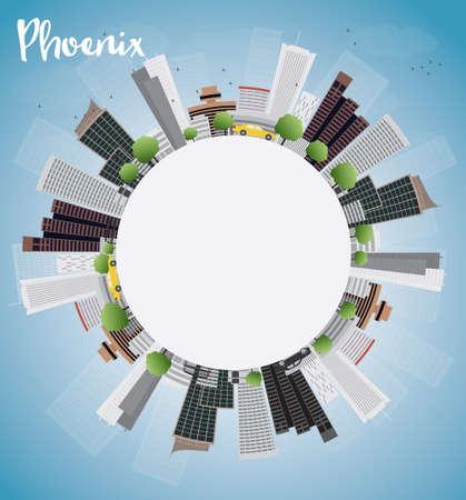 ave fenix: Phoenix Skyline con edificios grises, azul cielo y espacio de la copia. Ilustración vectorial