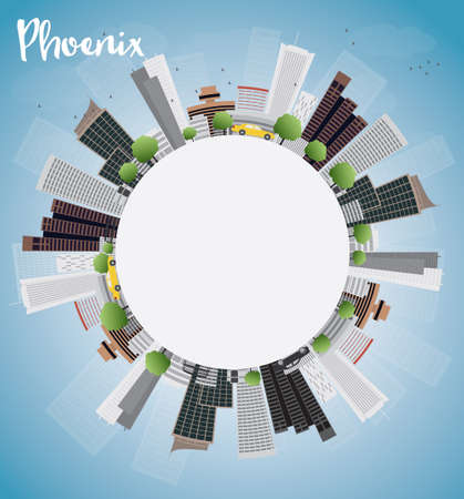 phoenix: Phoenix Skyline with Grey Buildings, Blue Sky and copy space. Vector Illustration