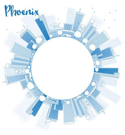 ave fenix: Esquema Phoenix Skyline con edificios azules y espacio de la copia. Ilustración vectorial
