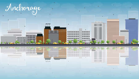 anchorage: Anchorage (Alaska) Skyline with Grey Buildings, Blue Sky and reflections. Vector Illustration