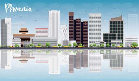 ave fenix: Phoenix Skyline con edificios grises, azul cielo y reflexiones. Ilustraci�n vectorial Vectores