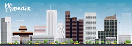 ave fenix: Phoenix Skyline con grises edificios y cielo azul. Ilustración vectorial Vectores