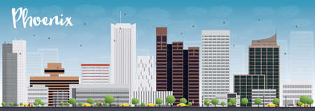 Phoenix Skyline with Grey Buildings and Blue Sky. Vector Illustration