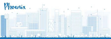 ave fenix: Esquema de Phoenix Skyline con edificios azules. Ilustración del vector