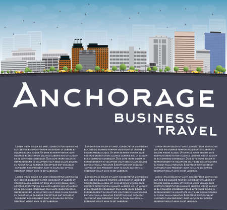 anchorage: Anchorage (Alaska) Skyline with Grey Buildings, Blue Sky and copy space. Business travel concept. Vector Illustration