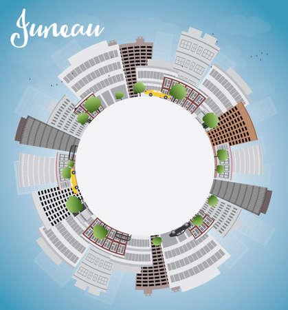 copy space: Juneau (Alaska) Skyline with Grey Building, Blue Sky and copy space. Vector Illustration Illustration
