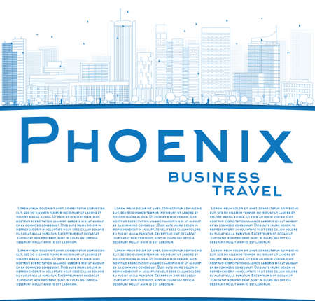 phoenix arizona: Outline Phoenix Skyline with Blue Buildings and copy space. Business travel concept. Vector Illustration Illustration