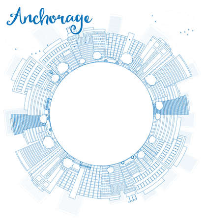 anchorage: Outline Anchorage (Alaska) Skyline with Blue Buildings and copy space. Vector Illustration Illustration