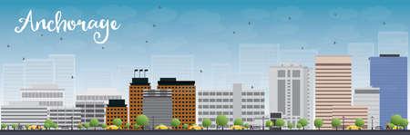 회색 건물과 푸른 하늘 앵커리지 (알래스카) 스카이 라인. 벡터 일러스트 레이 션