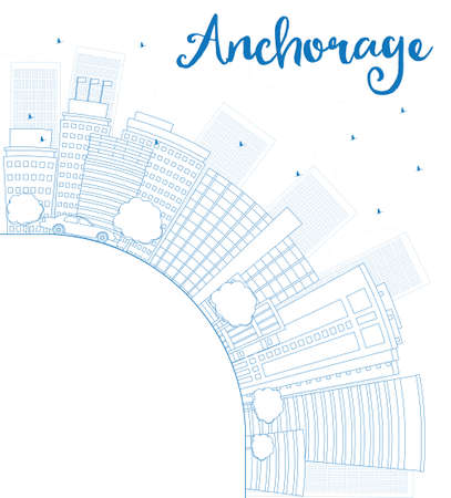 anchorage: Outline Anchorage Alaska Skyline with Blue Buildings and copy space. Vector Illustration