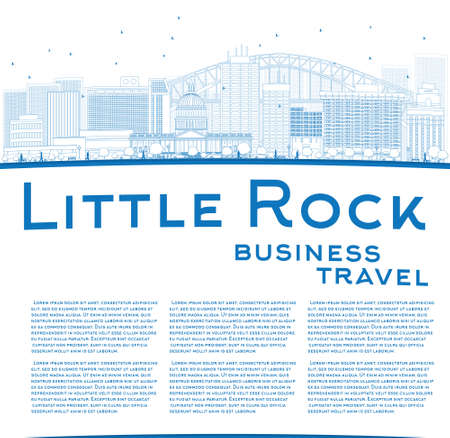little rock: Outline Little Rock Skyline with Blue Building and copy space. Business travel concept. Vector Illustration Illustration