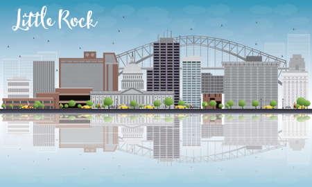 Little Rock Skyline met grijs gebouw, Blauwe Hemel en reflecties. vector Illustration