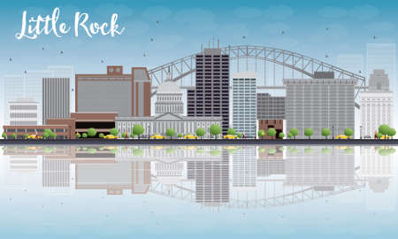 reflections: Little Rock Skyline with Grey Building, Blue Sky and reflections. Vector Illustration