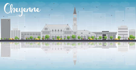 Cheyenne Wyoming Skyline with Grey Buildings, Blue Sky and reflections. Vector Illustration