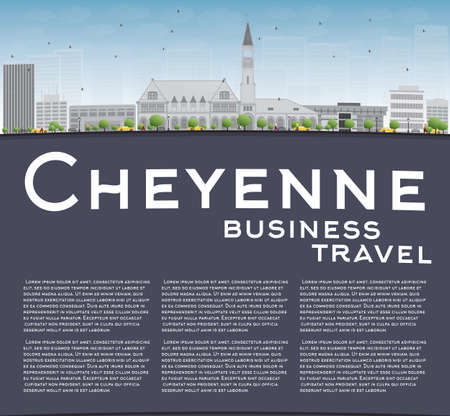 grey sky: Cheyenne Wyoming Skyline with Grey Buildings and Blue Sky. Business travel concept. Vector Illustration