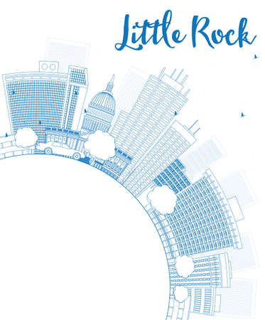 little rock: Outline Little Rock Skyline with Blue Building and copy space. Vector Illustration Illustration