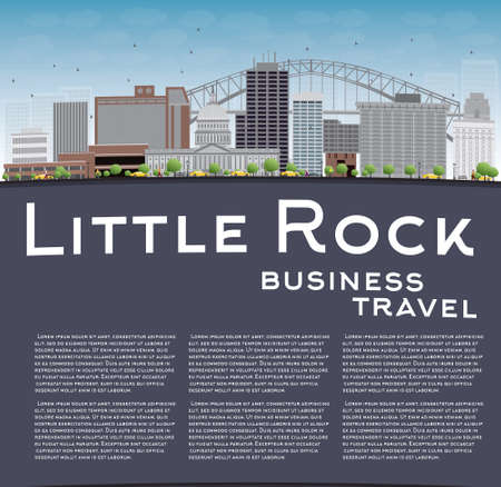 little rock: Little Rock Skyline with Grey Building, Blue Sky and copy space. Business travel concept. Vector Illustration