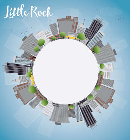 little rock: Little Rock Skyline with Grey Building, Blue Sky and copy space. Vector Illustration