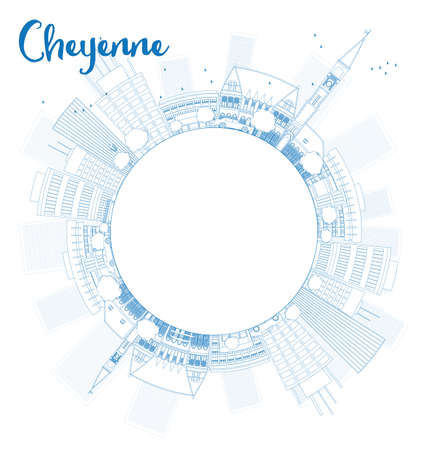 cheyenne: Outline Cheyenne Wyoming Skyline with Blue Buildings and copy space. Vector Illustration Illustration