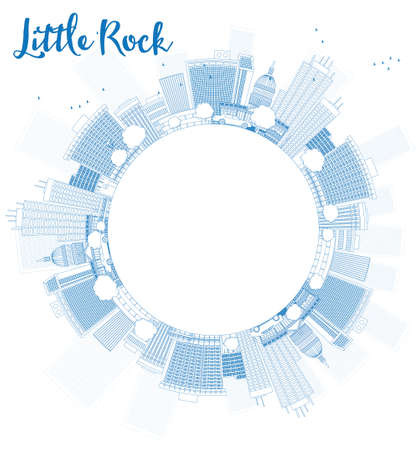 little people: Outline Little Rock Skyline with Blue Building and copy space. Vector Illustration Illustration