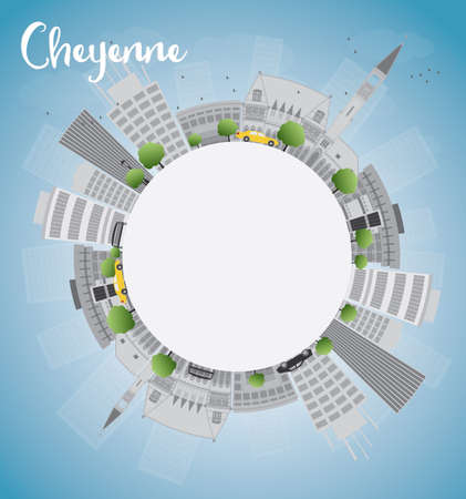 cheyenne: Cheyenne Wyoming Skyline with Grey Buildings, Blue Sky and copy space. Vector Illustration Illustration