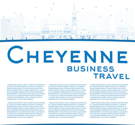cheyenne: Outline Cheyenne Wyoming Skyline with Blue Buildings. Business travel concept. Vector Illustration