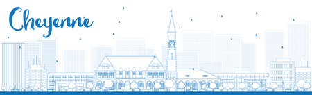 outlook: Outline Cheyenne Wyoming Skyline with Blue Buildings. Vector Illustration