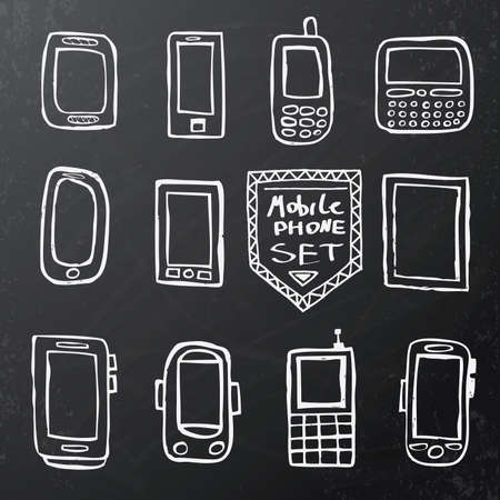 key pad: Hand drawn set of isolated mobile gadgets on black chalk board. Vector illustration