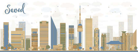 korea: Seoul skyline with blue and brown buildings. Vector illustration