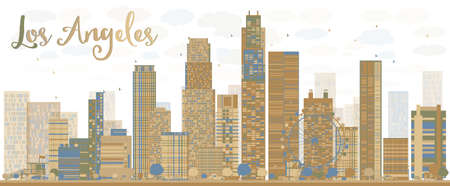 Los Angeles Skyline with Grey Buildings and Blue Sky. Vector Illustration