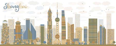 shanghai skyline: Shanghai skyline with blue and brown skyscrapers. Vector illustration