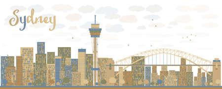 небоскребы: Горизонты города Сидней с синими и коричневыми небоскребов. Векторная иллюстрация Иллюстрация