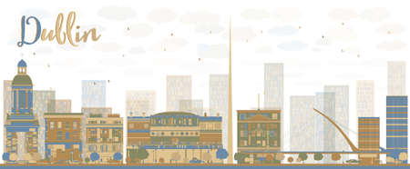 castles needle: Abstract Dublin Skyline with Color Buildings, Ireland. Vector Illustration Illustration