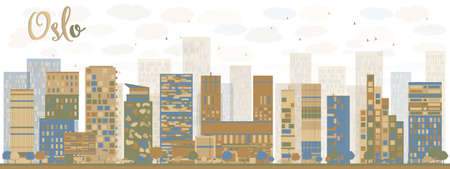 Abstract Oslo Skyline with Blue Buildings. Vector Illustration Imagens - 45056952